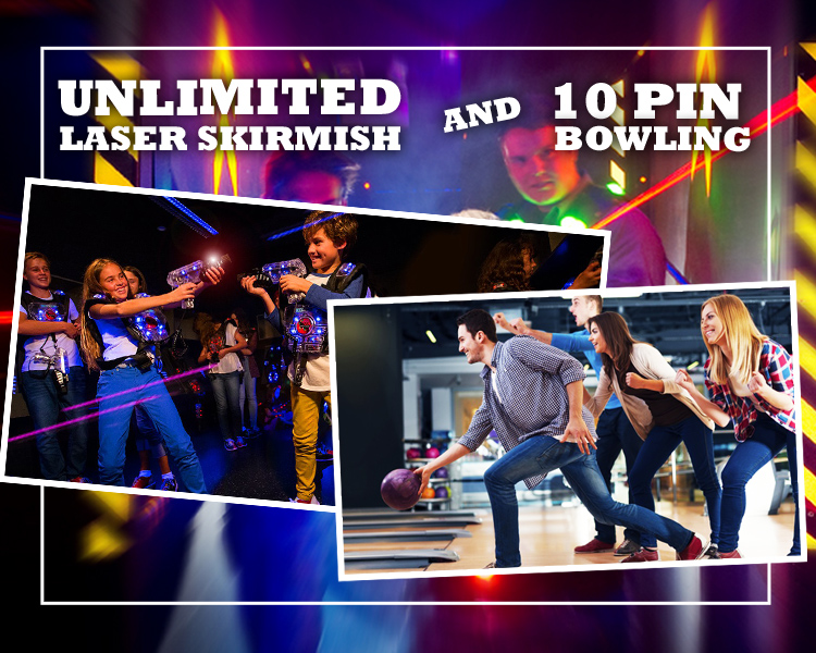 laser skirmish and 10 pin bowling