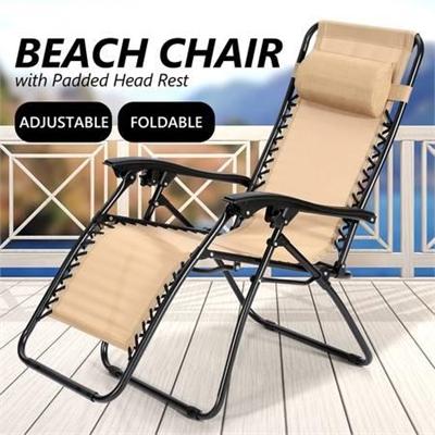 Reclining Chair Zero Gravity Foldable Recliner Beach Tan