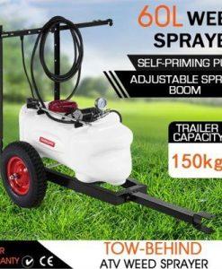 60L ATV Weed Garden Sprayer w/4 Nozzle Boom 130PSI Pump Trailer Tank
