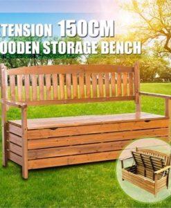 1.5M 3 Seat Wooden Outdoor Garden Storage Bench Chair Box Chest Furniture Timber