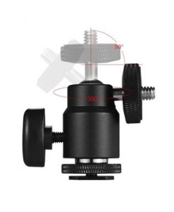 "2pcs 360° Rotary Mini Ball Head Hot Shoe Adapter 1/4"" Screw Thread Base for DSLR Camera LED Light Monitor Tripod Monopod"