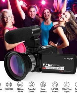 "Andoer 1080P HD WiFi Digital Video Camera Camcorder DV Recorder 16X Zoom 3.0"" LCD Touchscreen IR Night Vision with Hot Shoe Mount + External Microphone + 0.39X Wide Angle Lens"
