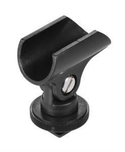 """Andoer 19mm Plastic Mic Microphone Holder Clip with Hot Shoe & 1/4"""" Screw Hole for DSLR Camera"""