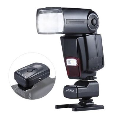 Andoer AD-560II Universal Flash Speedlite On-camera Flash GN50 w/ Adjustable LED Fill Light + Andoer Universal 16 Channels Radio Wireless Remote Speedlite Flash Trigger