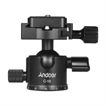 Andoer C-10 Aluminum Alloy Camera Tripod Ball Head Mini Ballhead Low Center of Gravity for Canon Nikon Sony DSLR ILDC Cameras Max. Load 6kg Black