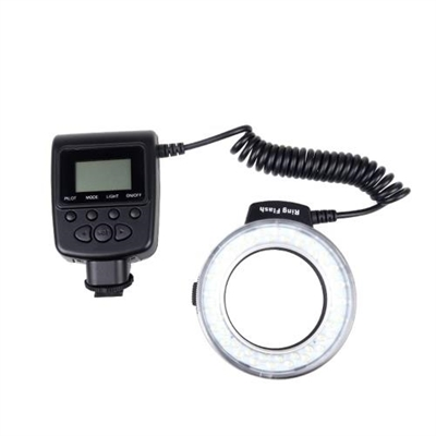 Andoer RF-550D Macro 48 LED Ring Flash Light LCD Display