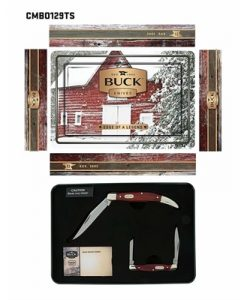 Buck 2x Folding Knife with Red Pakawood Handles Gift Tin Set