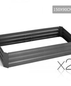 Galvanised Raised Garden Bed - 150x90x30cm - Aluminium Grey