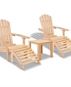 Gardeon 5pc Outdoor Adirondack Beach Chair Garden Table Set Wooden