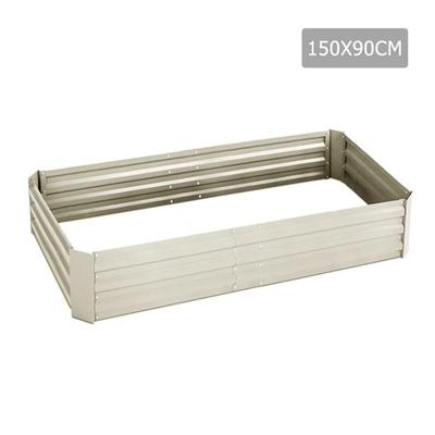 Green Fingers 150 x 90cm Galvanised Steel Garden Bed - Cream