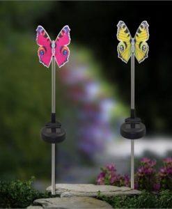 Lixada 2Pcs Color Changing Solar Powered Garden Pathway Lawn Landscape Decoration LED Bird Lamp Spike Light Sense
