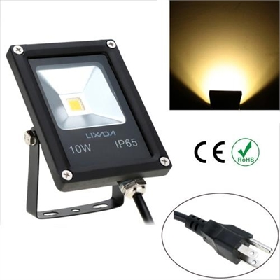 Lixada Real Power 10W 85-265V AC IP65 Ultrathin LED Flood Light with Wire US Plug Outdoor Garden Tunnel Square Yard Landscape Lighting CE RoHs