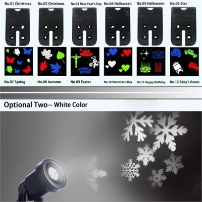 Projector Light 12Pcs Pattern Spotlight Romantic RGBW Snowflake/Love Film Rotating Garden Lamp for Birthday Party Valentine's Day Xmas Decoration Lighting with Remote Controller