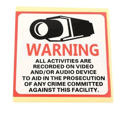 Security 24HR CCTV Camera Waterproof Warning Sticker