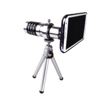 Universal 12X Zoom Phone Telephoto Camera Lens with Case Cover Kit Tripod