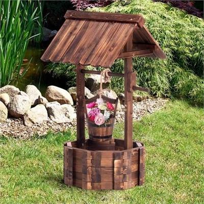Outdoor Garden Wishing Well Planter Flower Bucket Patio Lawn Wooden Decor Rustic