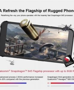(Russia Version)AGM X3 Rugged Mobile Phone 8GB+64GB IP68 Waterproof 5.99Inch FHD+ 18:9 Display Snapdragon 845 8-core Android 8.1 24MP+20MP Cameras 4100mAh Face ID NFC Unlocked 4G LTE Smartphone