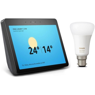 Amazon - 10in Echo Show (2nd generation) with Bonus Philips Hue Bulb (A60/B22) - Charcoal