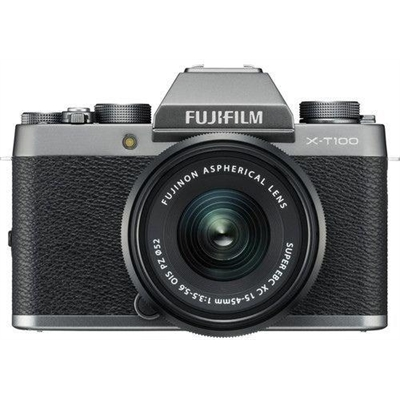 FujiFilm X-T100 Dark Silver w/ XC15- 45mm & XF27mm Lens, CS Camera w/Bonus Bag & Battery