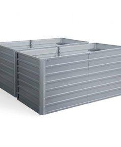 Greenfingers Galvanised Steel Raised Garden Bed Instant Planter 160 x 80 x 77cm Aluminium X2