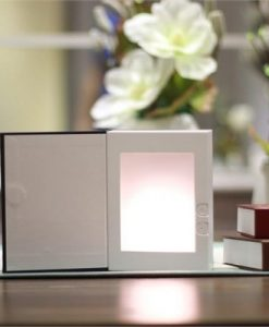 Flame Effect Night Light USB Rechargeable Book Shaped Lamp
