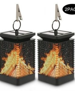 2PC Solar Powered LED Night Lights Solar Lantern Lights Dancing Flame Lamp