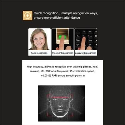 ZK-TA50 Face Fingerprint Recognition Access Control System Password Attendance Machine US Plug