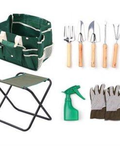 7 Piece Garden Tools Set Hand Rake Hand Fork Trowel Transplanter Weeder Watering Can Convenient Folding Gardening Seat