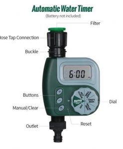 Automatic Water Timer Outdoor Garden Irrigation Controller 1-Outlet Programmable Hose Faucet Timer Garden Automatic Watering Device without Battery Green