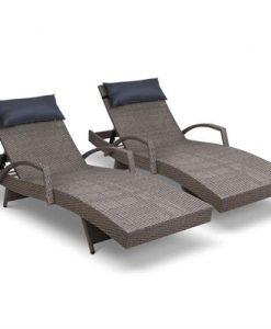 Gardeon Sun Lounge Setting Grey Wicker Day Bed Outdoor Furniture Garden Patio