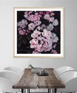 Pink Midnight Garden | Square Art Print | Various Sizes