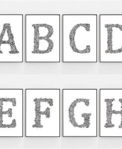 The Secret Garden Leaf Floral Letter Alphabet Initials ABC Art Prints By Pick A Pear   Unframed