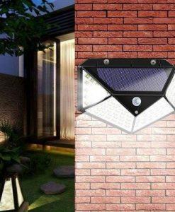 100 / 114 LED Solar Powered SMD2835 LED PIR Motion Sensor Wall Stairs Light Outdoor Garden Lamp 3 Modes