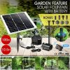 100W Solar Fountain Water Pump with Battery and LED Light for Birdbath Garden Pool