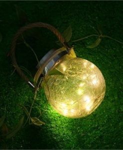 Outdoor Solar Hanging Light Crack Glass Ball Solar Hanging Light Lamp Fairy Light Landscape Patio Garden Jar Solar Light 1Pcs